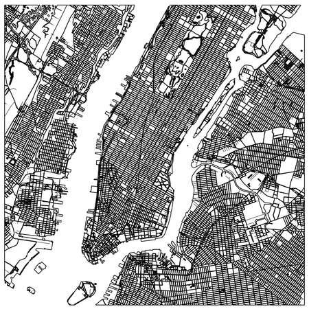 Manhattan nyc map lineart. Black and white hand drawn illustration. Icon sign for print and labeling. Vektoros illusztráció
