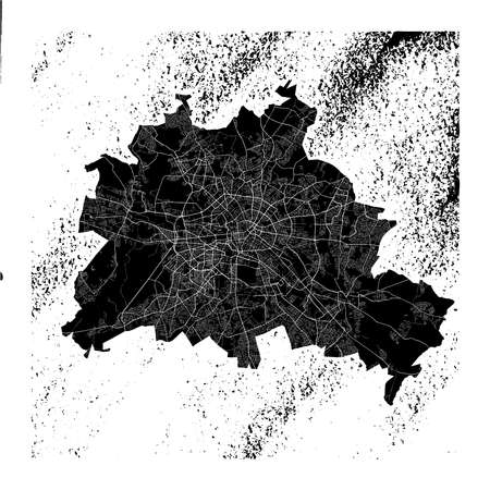 Berlin map on vintage background. Black and white hand drawn illustration. Icon sign for print and labeling.