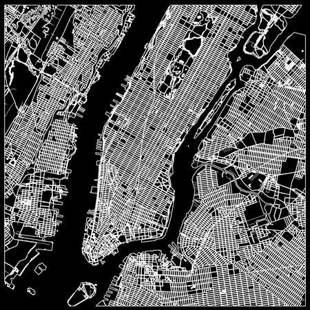 Manhattan nyc map on black. Black and white hand drawn illustration. Icon sign for print and labeling.