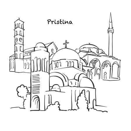 Famous buildings of Pristina, Kosovo Composition. Hand-drawn black and white vector illustration. Grouped and movable objects.