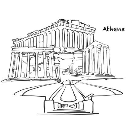 Famous buildings of Athens, Greece Composition. Hand-drawn black and white vector illustration. Grouped and movable objects.