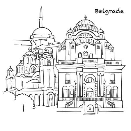 Famous buildings of Belgrade, Serbia Composition. Hand-drawn black and white vector illustration. Grouped and movable objects. Vektorové ilustrace