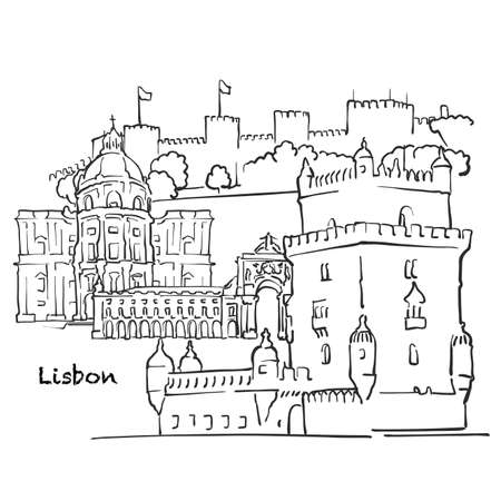 Famous buildings of Lisbon, Portugal Composition. Hand-drawn black and white vector illustration. Grouped and movable objects.