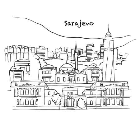 Famous buildings of Sarajevo, Bosnia & Herzegovina Composition. Hand-drawn black and white vector illustration. Grouped and movable objects.