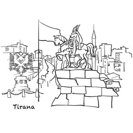 Famous buildings of Tirana, Albania Composition. Hand-drawn black and white vector illustration. Grouped and movable objects.