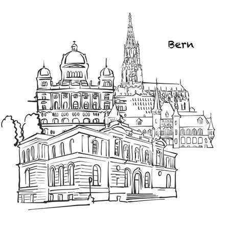 Famous buildings of Bern, Switzerland Composition. Hand-drawn black and white vector illustration. Grouped and movable objects. Ilustrace