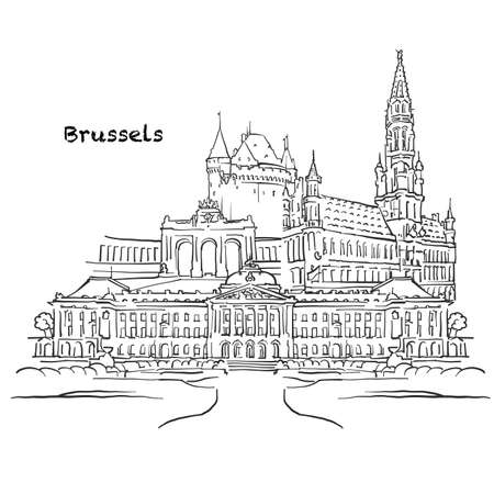 Famous buildings of Brussels, Belgium Composition. Hand-drawn black and white vector illustration. Grouped and movable objects.