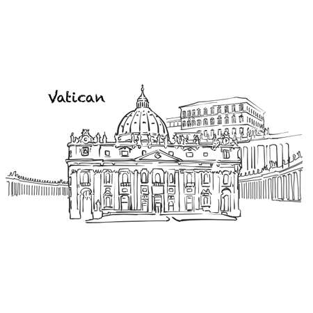 Famous buildings of Vatican, Holy See Composition. Hand-drawn black and white vector illustration. Grouped and movable objects.