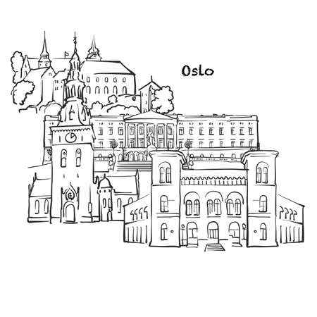 Famous buildings of Oslo, Norway Composition. Hand-drawn black and white vector illustration. Grouped and movable objects.