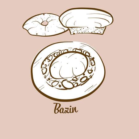 Hand-drawn Bazin bread illustration. Flatbread, usually known in Libya. Vector drawing series. Ilustração
