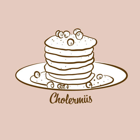 Hand-drawn Cholermues bread illustration. Pancake, usually known in Switzerland. Vector drawing series. Imagens - 155910946