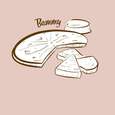 Hand-drawn Bammy bread illustration. Flatbread, usually known in Jamaica. Vector drawing series. Imagens - 155910947