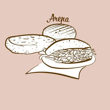 Hand-drawn Arepa bread illustration. Cornbread, usually known in South America. Vector drawing series.