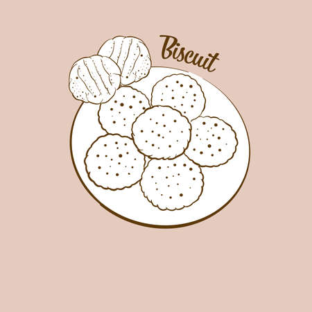 Hand-drawn biscuit bread illustration. Yeast bread, usually known in America, Europe. Vector drawing series.
