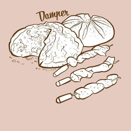 Hand-drawn Damper bread illustration. Soda bread, usually known in Australia. Vector drawing series. Çizim