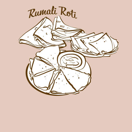 Hand-drawn Rumali Roti bread illustration. Flatbread, usually known in India. Vector drawing series. Illustration