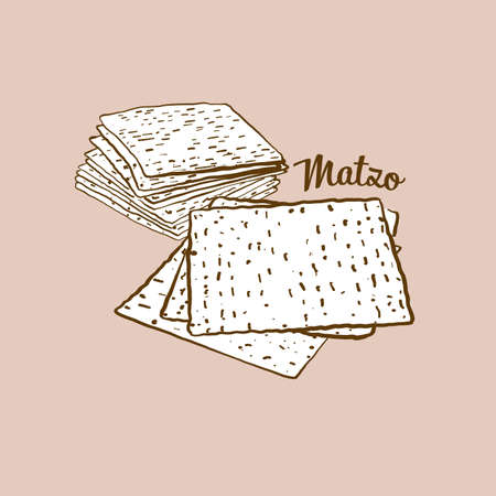 Hand-drawn matzo bread illustration. Flatbread, usually known in Jewish. Vector drawing series.