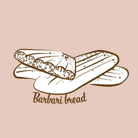 Hand-drawn Barbari bread bread illustration. Flatbread, usually known in Iran, Afghanistan. Vector drawing series. Imagens - 155910955