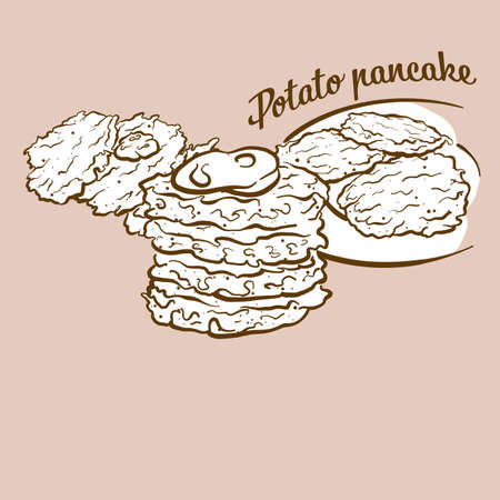 Hand-drawn Potato pancake bread illustration. Pancake, usually known in Slovakia, Germany. Vector drawing series.