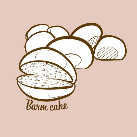Hand-drawn barm cake bread illustration. Yeast bread, usually known in Lancashire. Vector drawing series.
