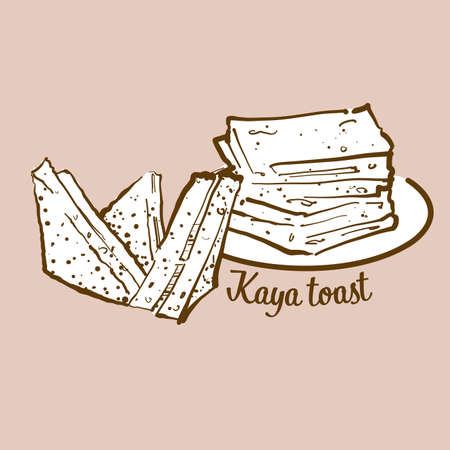 Hand-drawn Kaya toast bread illustration. Toast, usually known in Singapore, Malaysia. Vector drawing series.