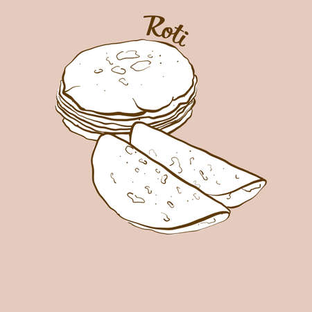 Hand-drawn Roti bread illustration. Flatbread, usually known in India, Pakistan. Vector drawing series.