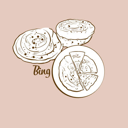 Hand-drawn Bing bread illustration. Flatbread, usually known in China. Vector drawing series. Imagens - 155910971