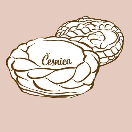 Hand-drawn Cesnika bread illustration. Soda bread, usually known in Serbia. Vector drawing series. Imagens - 155910972