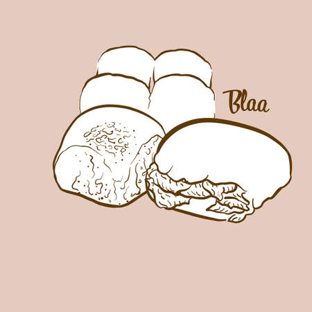 Hand-drawn Blaa bread illustration. Bun, usually known in Ireland. Vector drawing series.