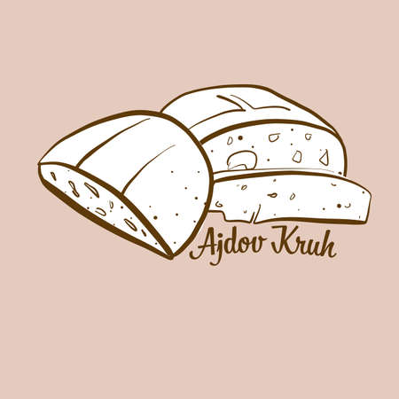 Hand-drawn Ajdov Kruh bread illustration. Buckwheat bread, usually known in Slovenia. Vector drawing series.