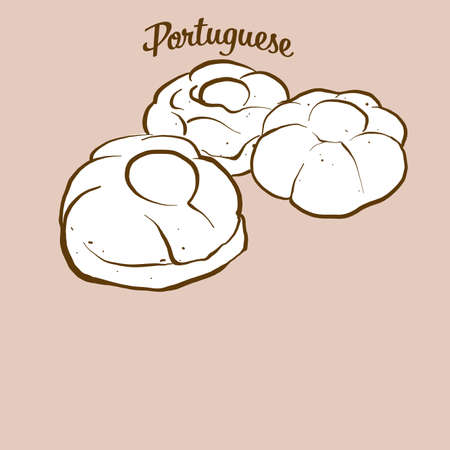 Hand-drawn Portuguese sweet bread bread illustration. Sweet bread, usually known in Portugal. Vector drawing series.
