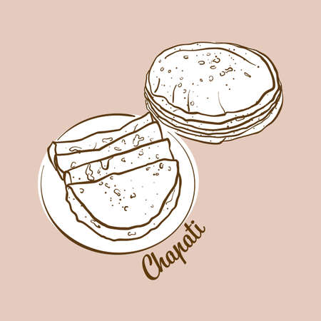 Hand-drawn chapati bread illustration. Flatbread, usually known in South Asia. Vector drawing series. Ilustração