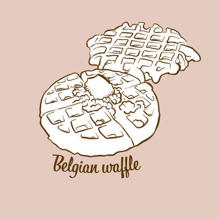 Hand-drawn Belgian waffle bread illustration. Waffle, usually known in Belgium. Vector drawing series. Imagens - 155910976
