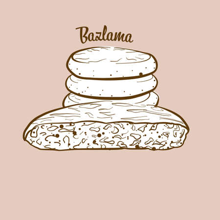 Hand-drawn Bazlama bread illustration. Flatbread, usually known in Turkey. Vector drawing series. Imagens - 155910980