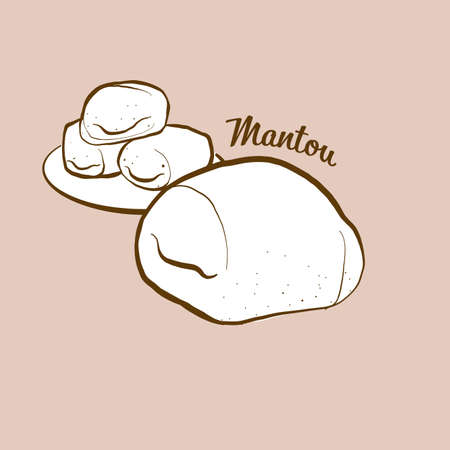 Hand-drawn Mantou bread illustration. Bun, usually known in China. Vector drawing series. Imagens - 155910982