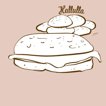 Hand-drawn Hallulla bread illustration. Flatbread, usually known in Chile. Vector drawing series.