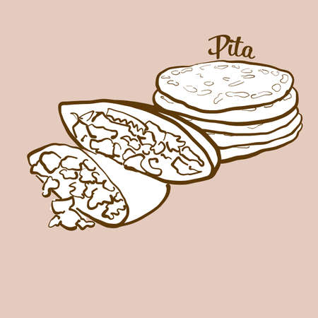Hand-drawn pita bread illustration. Flatbread, usually known in Near East, Greece. Vector drawing series. Imagens - 155910986
