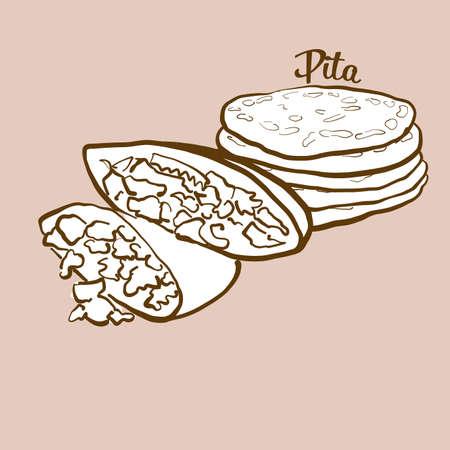 Hand-drawn pita bread illustration. Flatbread, usually known in Near East, Greece. Vector drawing series. Ilustração