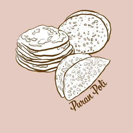 Hand-drawn Puran Poli bread illustration. Flatbread, usually known in India. Vector drawing series. Imagens - 155910989