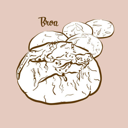 Hand-drawn Broa bread illustration. Cornbread, usually known in Portugal. Vector drawing series. Illustration