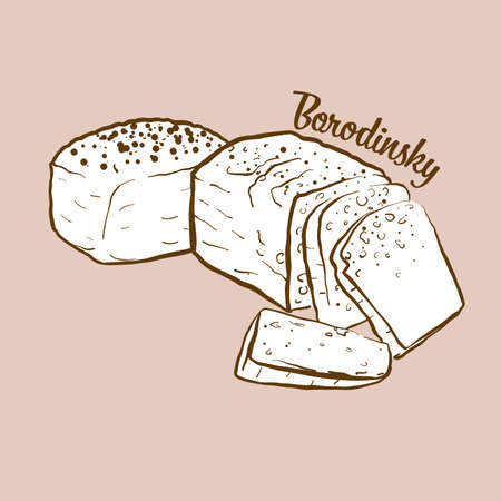 Hand-drawn Borodinsky bread illustration. Sourdough, usually known in Russia. Vector drawing series. Imagens - 155910990