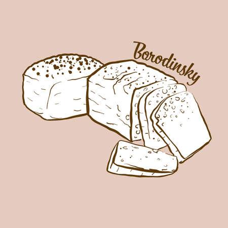 Hand-drawn Borodinsky bread illustration. Sourdough, usually known in Russia. Vector drawing series. Ilustração