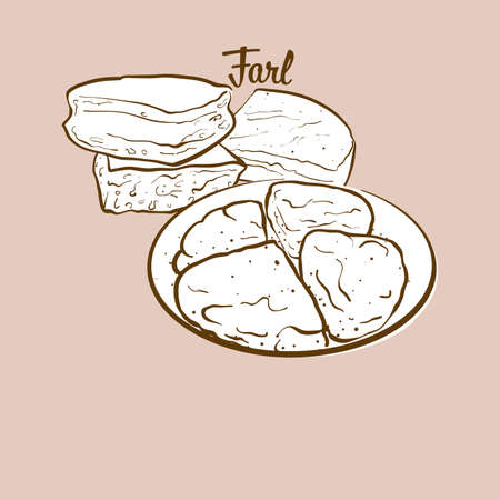 Hand-drawn Farl bread illustration. Flatbread, usually known in United Kingdom. Vector drawing series.