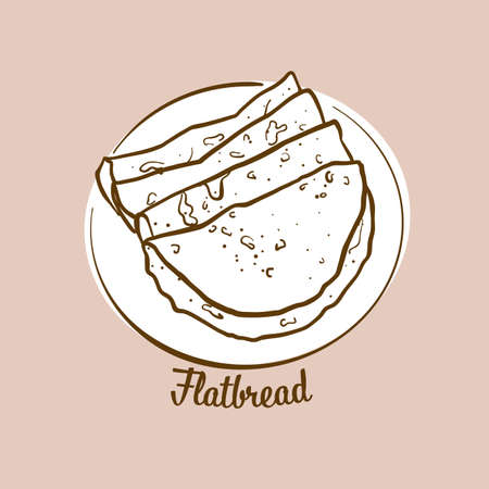 Hand-drawn flatbread bread illustration. Flatbread, usually known in Asia. Vector drawing series. Imagens - 155911024