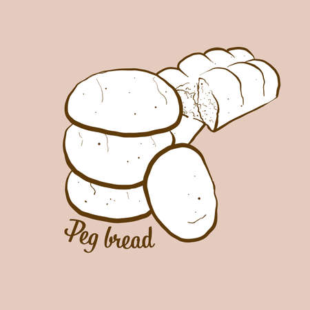 Hand-drawn Peg bread bread illustration. Leavened, lobed loaf, usually known in Jamaica. Vector drawing series.