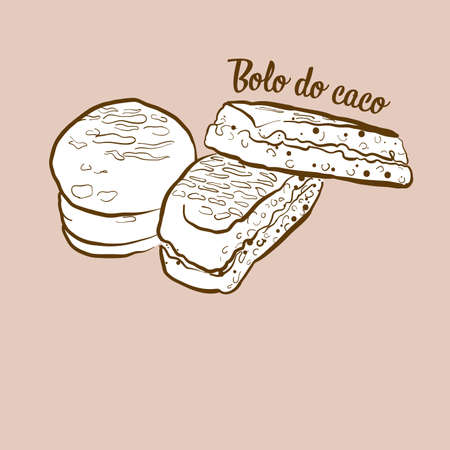 Hand-drawn Bolo do caco bread illustration. Flatbread, usually known in Portugal, Madeira. Vector drawing series.