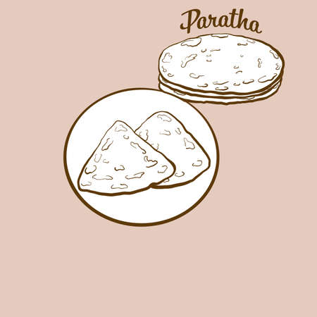 Hand-drawn Paratha bread illustration. Flatbread, usually known in India, Pakistan. Vector drawing series. Ilustração