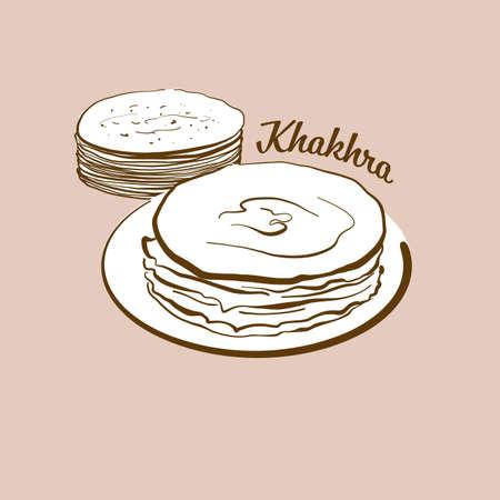 Hand-drawn Khakhra bread illustration. Flatbread, Crispy, usually known in Gujarat, India. Vector drawing series. Ilustração