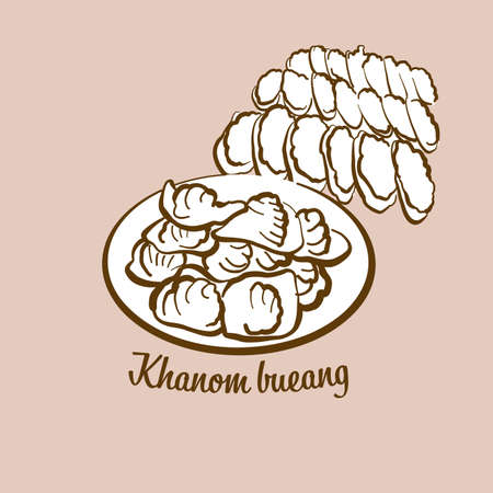 Hand-drawn Khanom bueang bread illustration. Flatbread, Crispy, usually known in Thailand, Cambodia. Vector drawing series.