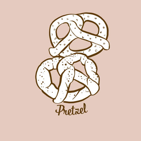 Hand-drawn Pretzel bread illustration. Dry bread, usually known in Germany. Vector drawing series.